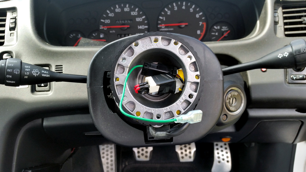 How To Fit Aftermarket Steering Wheel Hkb Boss Kit Tutorial 2000 Subaru Impreza Horn Wiring Trail Your Connections Out See What Terminal You Need Wire Get The Work Mine Was As Shown Below All Wheels Will Have Different